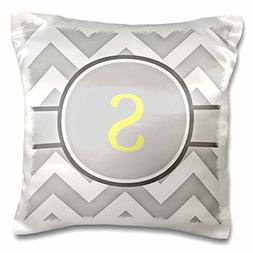 3dRose pc_222107_1 Grey and White Chevron with Yellow Monogr