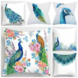 Peacock Blue White Throw PILLOW COVER Decorative Feather Bed