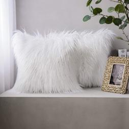 Phantoscope Pack Of 2 Faux Fur Pillow Covers Throw Pillows C