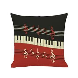 NXDA Pillow Case, Piano Musical Note Printing Cotton Linen B