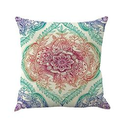 NXDA Pillow Case,Vintage Bohemian Geometry Painting Linen Bl