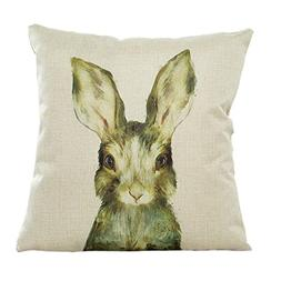 Pillow Case,Bokeley Cotton Linen Square Cute Animals Print D