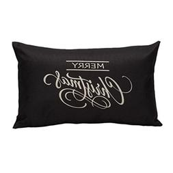 pillow case vintage merry christmas letter sofa