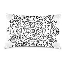 Lovexue Pillow Cases Black and White Flower Bed Throw Pillow
