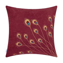 CaliTime Pillow Cases Shells Cushion Covers Peacock Feathers