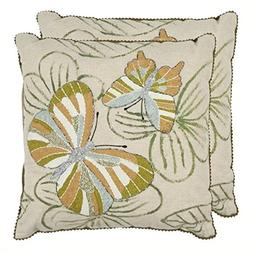 Safavieh Pillow Collection Throw Pillows, 18 by 18-Inch, Cas