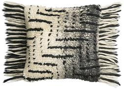 Loloi Pillow, Poly Filled - Black / Ivory Pillow Cover, 18""
