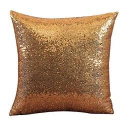 GBSELL Pillow Cover Glitter Sequins Throw Pillow Case Cafe H