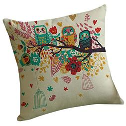 GBSELL Pillow Cover Happy Tree Bird Pillow Case Sofa Throw C