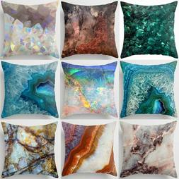 Throw PILLOW COVER Marble Print Blue White Soft Decorative C