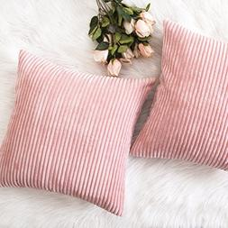 HOME BRILLIANT Pillow Covers Decor Supersoft Striped Velvet
