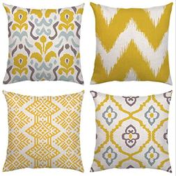 4 Pack Throw Pillow Case Covers Decorative Square Cushion Co
