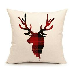 Pillows Cover Fall Decor Buffalo Plaids Deer Pillow Case Sof