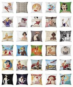 Pin up Girl Throw Pillow Cases Cushion Covers by Ambesonne D