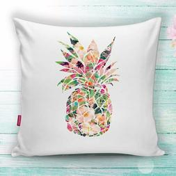 Pineapple With Flowers Decorative White Throw Pillow Cases C