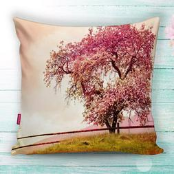 Pink Flowers on Tree Nature Theme Throw Pillow Case Cushion