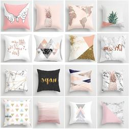 Pink Geometric Cushion Cover Nordic Pattern Women Tropic Pin