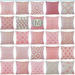 pink geometric decorative sofa couch bed throw