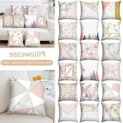 Pink Grey Gold Printed Pillow Case Cover Sofa Cushion Throw