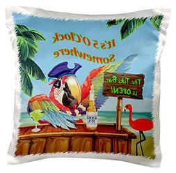 3dRose Pirate Parrot in Paradise, Pillow Case, 16 by 16-inch