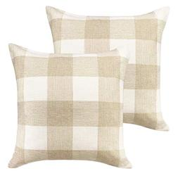 HIPPIH Plaids Pillow Cover 18 x 18 in, 2 Pack Buffalo Check