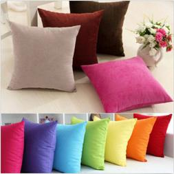 Plain Solid Throw Home Decor Pillow Case Bed Sofa Waist Cush