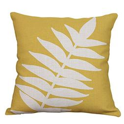 Plant Leaf Decorative Throw Pillow Covers Cotton Linen Cushi