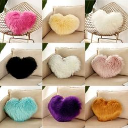 Plush Shaggy Throw Cushion Cover Heart Shape Fluffy Pillow C
