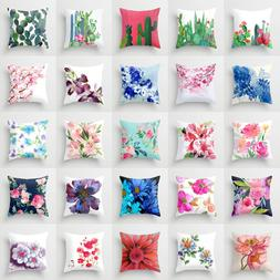 Polyester flower pillow case cover sofa car throw waist cush