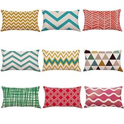 12 x 20 Inch Polyester and Linen Pillow Cases with Geometry