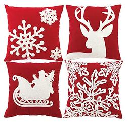 HOSL 4-Pack PSD34 Embroidery Embroidered Merry Christmas Sno