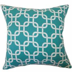 """Qishn Geometric 24"""" x 24""""  Feather Throw Pillow Turquoise Bl"""