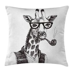 Ambesonne Quirky Throw Pillow Cushion Cover by, Giraffe Smok