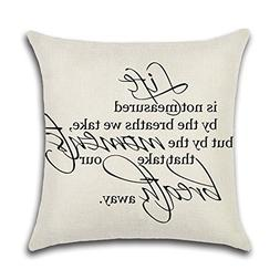 YANGYULU Quote Words Cotton Linen Home Decorative Throw Pill