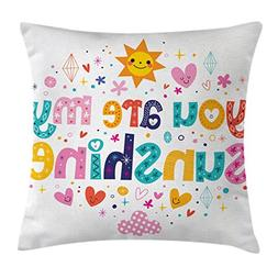 Ambesonne Quotes Decor Throw Pillow Cushion Cover, Cute Love