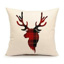4TH Emotion Red Black Buffalo Plaids Deer Throw Pillow Cover