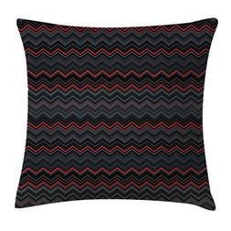 Ambesonne Red and Black Throw Pillow Cushion Cover, Zigzag C