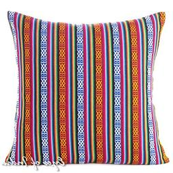 "Eyes of India 18"" Red Blue Large Colorful Striped Decorative"
