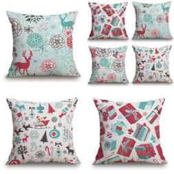 BLUETTEK Red Deer Christmas Throw Pillow Covers Set of 4, Ac