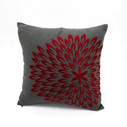 KainKain Red Flower Embroidery Throw Pillow Cover Dark Grey