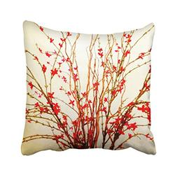 Musesh red flowers on light tan Cushions Case Throw Pillow C