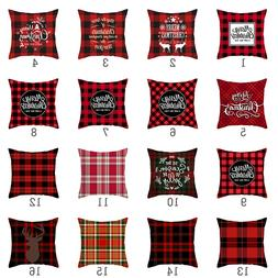 Red Plaid Print Cushion Cover Merry Christmas <font><b>Pillo