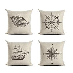 Retro Classic Stylish Nautical Decorative Pillowcases Set of