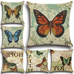 FashionMall Set of 6 Retro Vintage Butterfly Cotton Linen 18