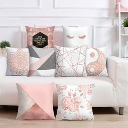 Rose Gold Square Cushion Cover Geometric Dreamlike <font><b>