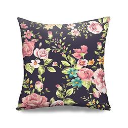HGOD DESIGNS Rose Pillow Case 18x18 Floral Square Fashion Th