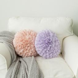 Ruffled Rose 3D Flower Shape Decorative Throw Pillow Handmad
