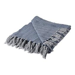 DII Rustic Farmhouse Cotton Textured Blanket Throw with Frin
