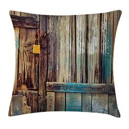 Ambesonne Rustic Throw Pillow Cushion Cover, Aged Shed Door