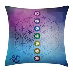 Ambesonne Sacred Geometry Throw Pillow Cushion Cover, Seven